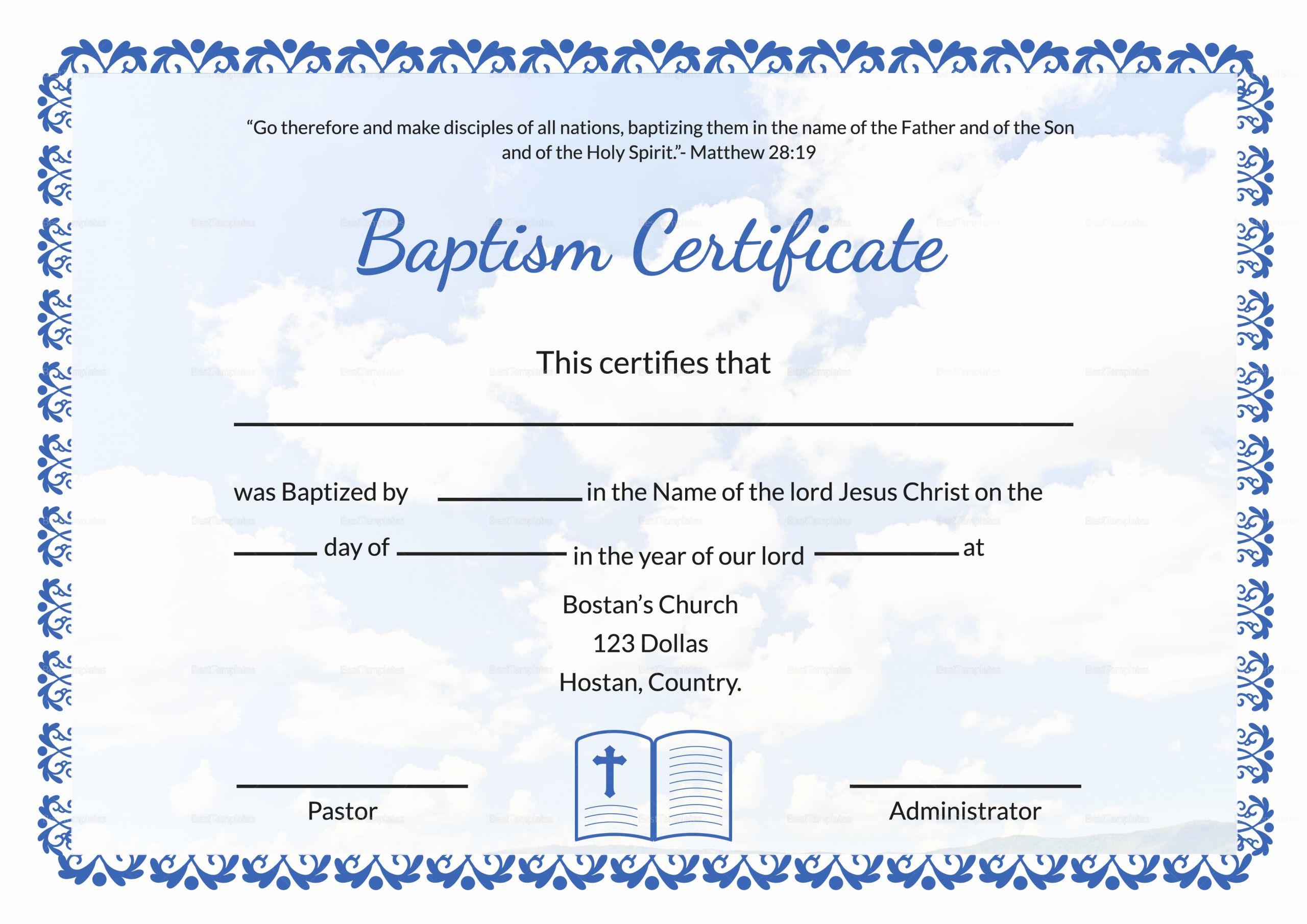 Microsoft Word Baptism Certificate Template Awesome Editable Baptism Certificate Template In Adobe Shop
