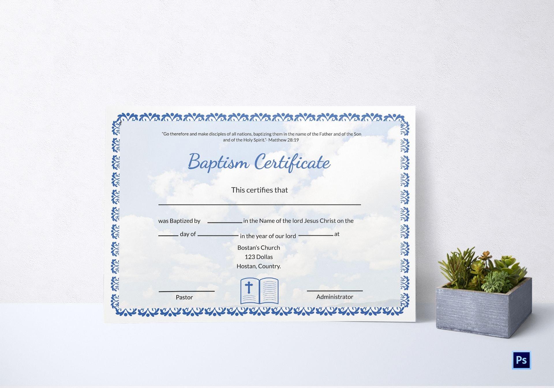 Microsoft Word Baptism Certificate Template Elegant Editable Baptism Certificate Template In Adobe Shop