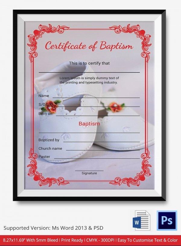 Microsoft Word Baptism Certificate Template Inspirational Baptism Certificate 12 Free Word Pdf Documents
