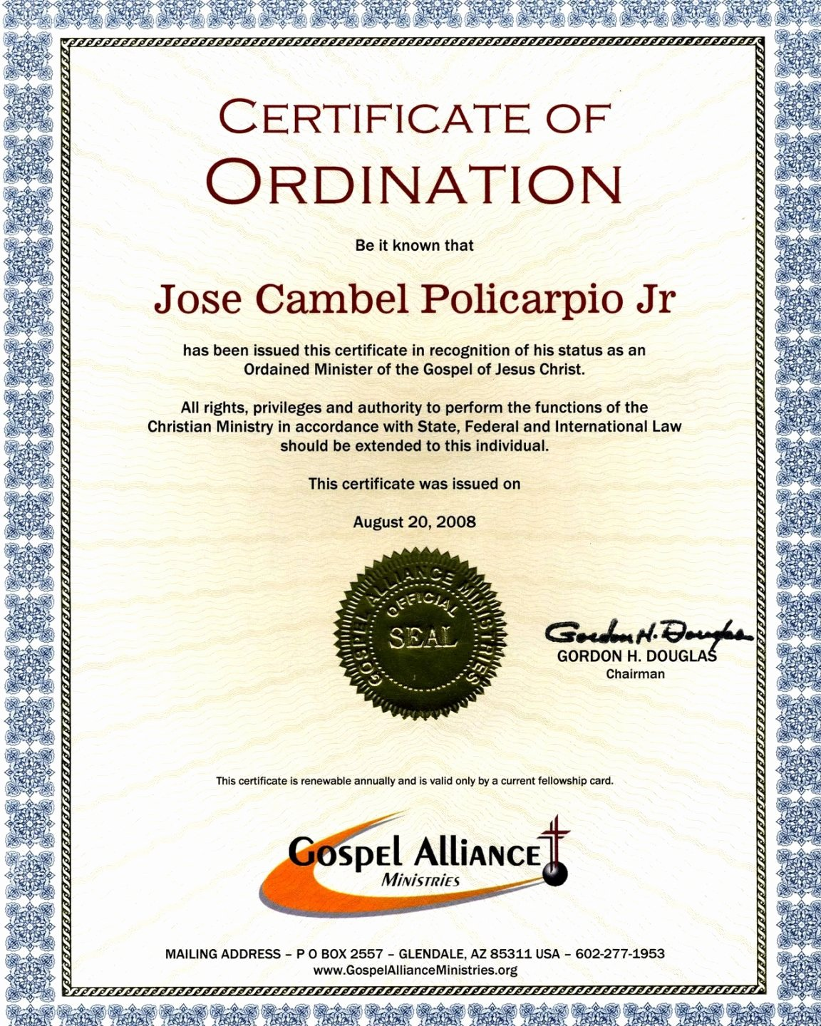 Minister License Certificate Template Awesome Bishop ordination Certificate Template