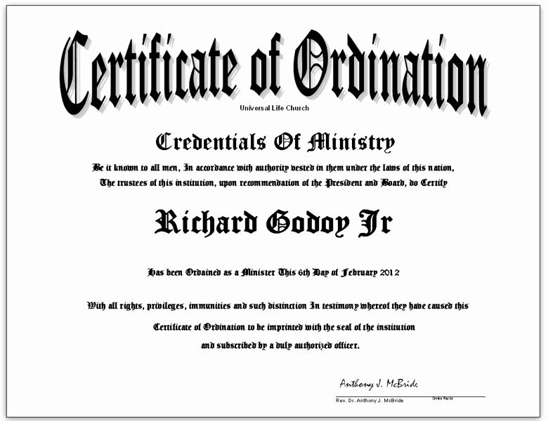 Minister License Certificate Template Beautiful Free ordination Certificate License Be A ordained