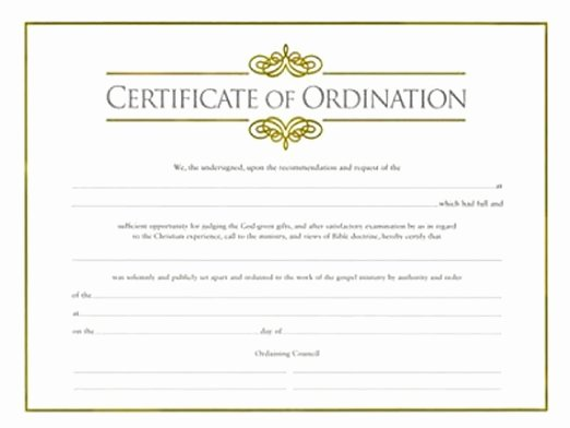 Minister License Certificate Template Best Of Minister ordination Certificate