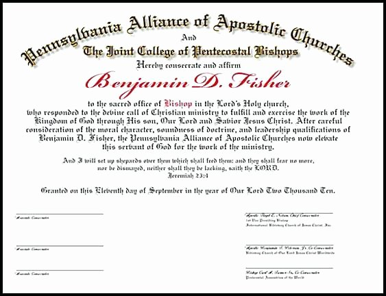 Minister License Certificate Template Fresh ordained Minister Certificate