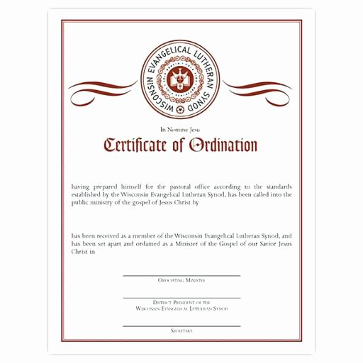 Minister License Certificate Template Inspirational ordained Minister Certificate