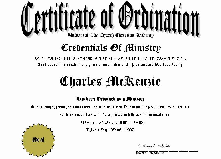 Minister License Certificate Template Lovely Minister License Certificate Template ordain Templates Data