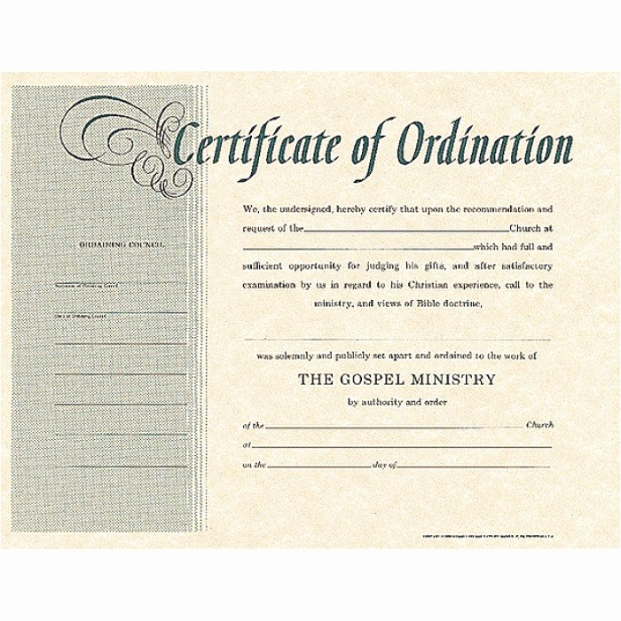 Minister License Certificate Template New ordination Certificate Green Lettering