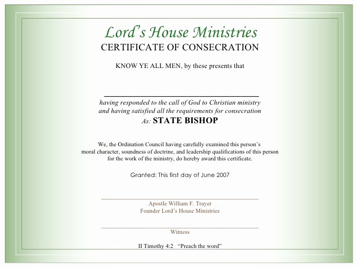 Minister ordination Certificate Template Awesome Certificate for Bishops