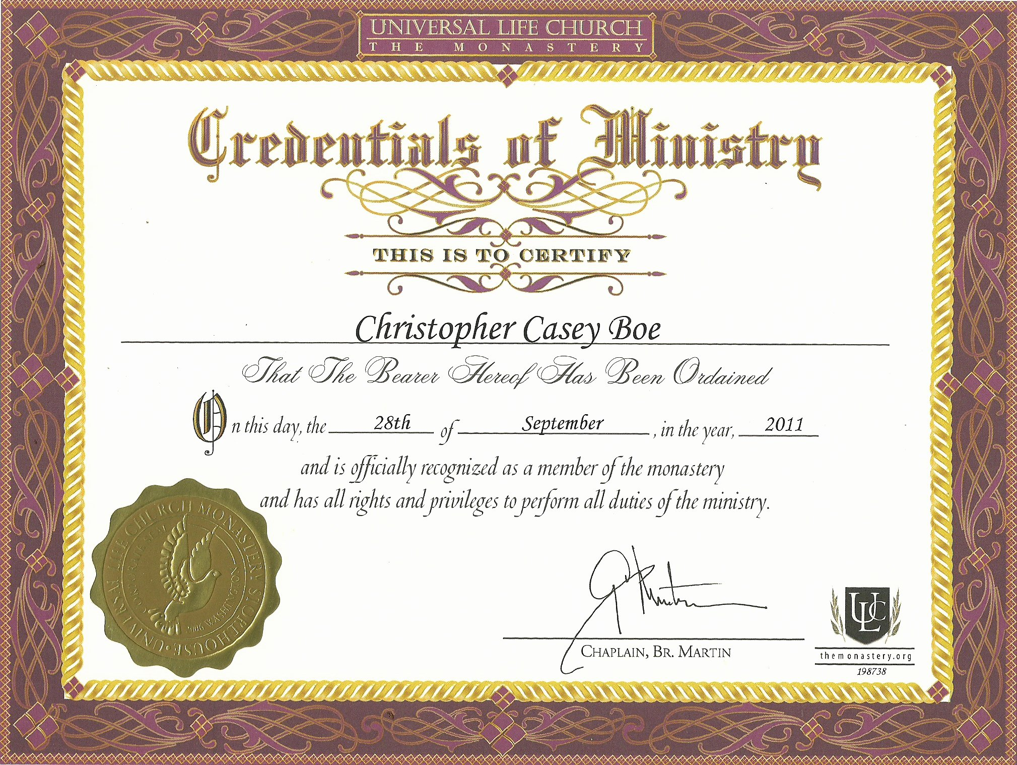 Minister ordination Certificate Template Lovely Credentials Of Ministry