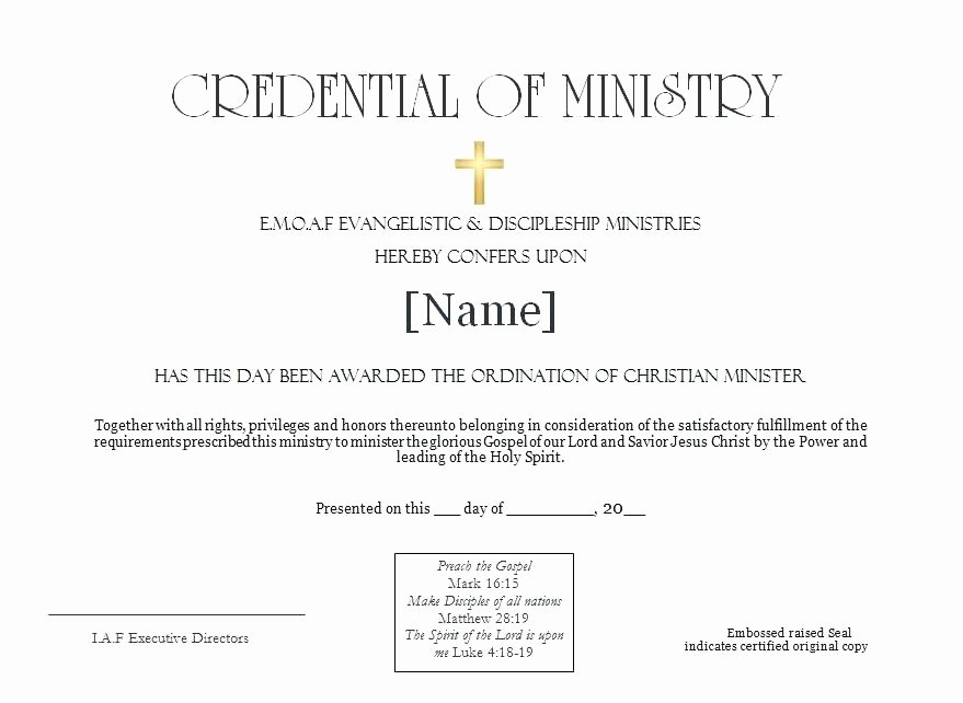 Ministerial License Certificate Template Best Of ordained Minister Certificate