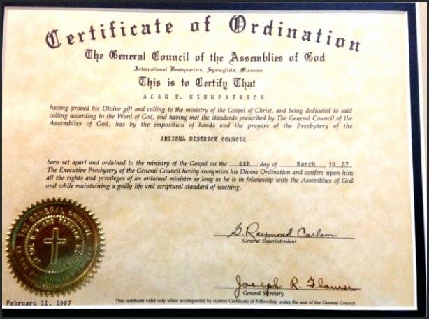 Ministerial License Certificate Template Fresh ordained Minister Certificate