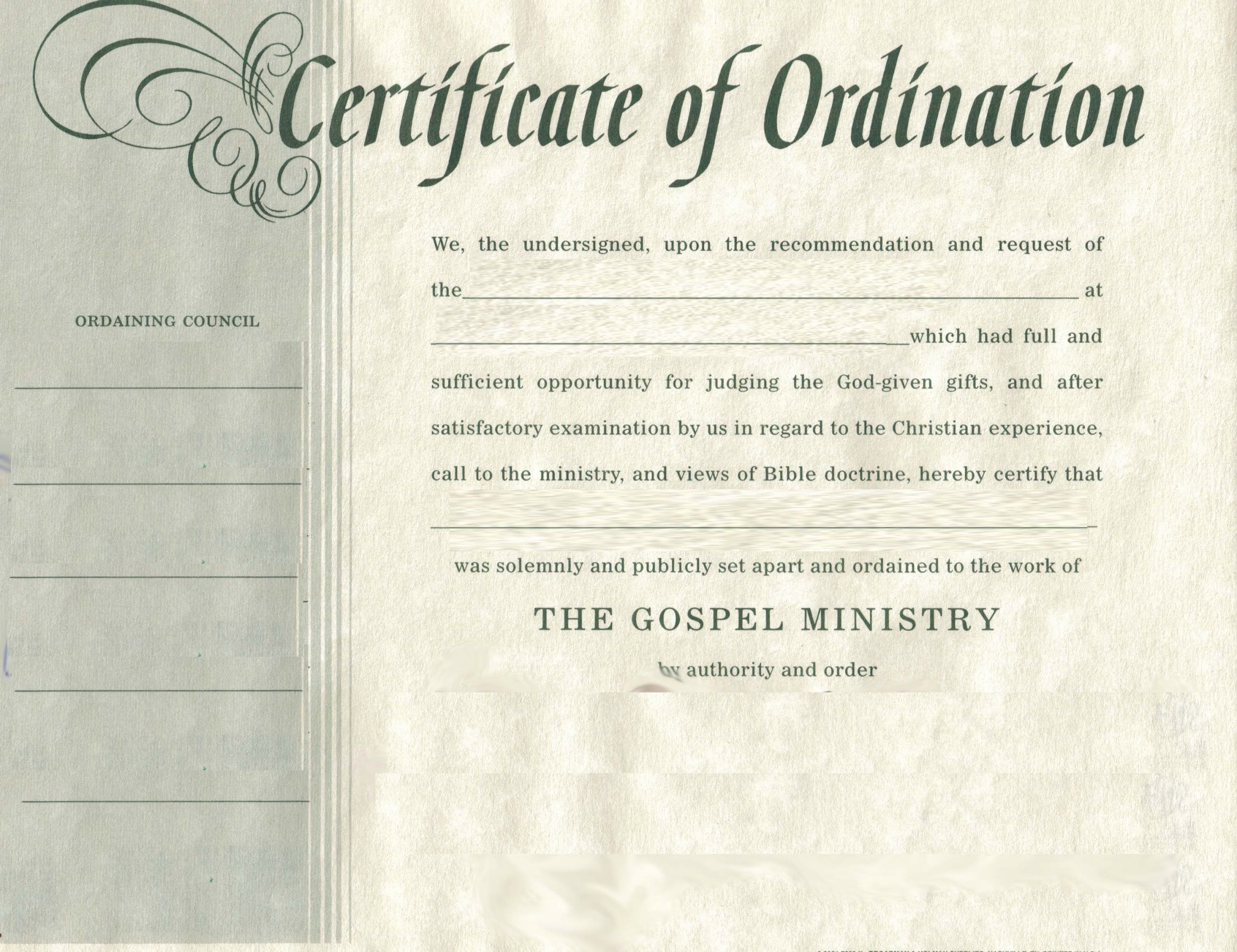 Ministerial License Certificate Template Fresh ordination Baptist Missionary association Of Missouri