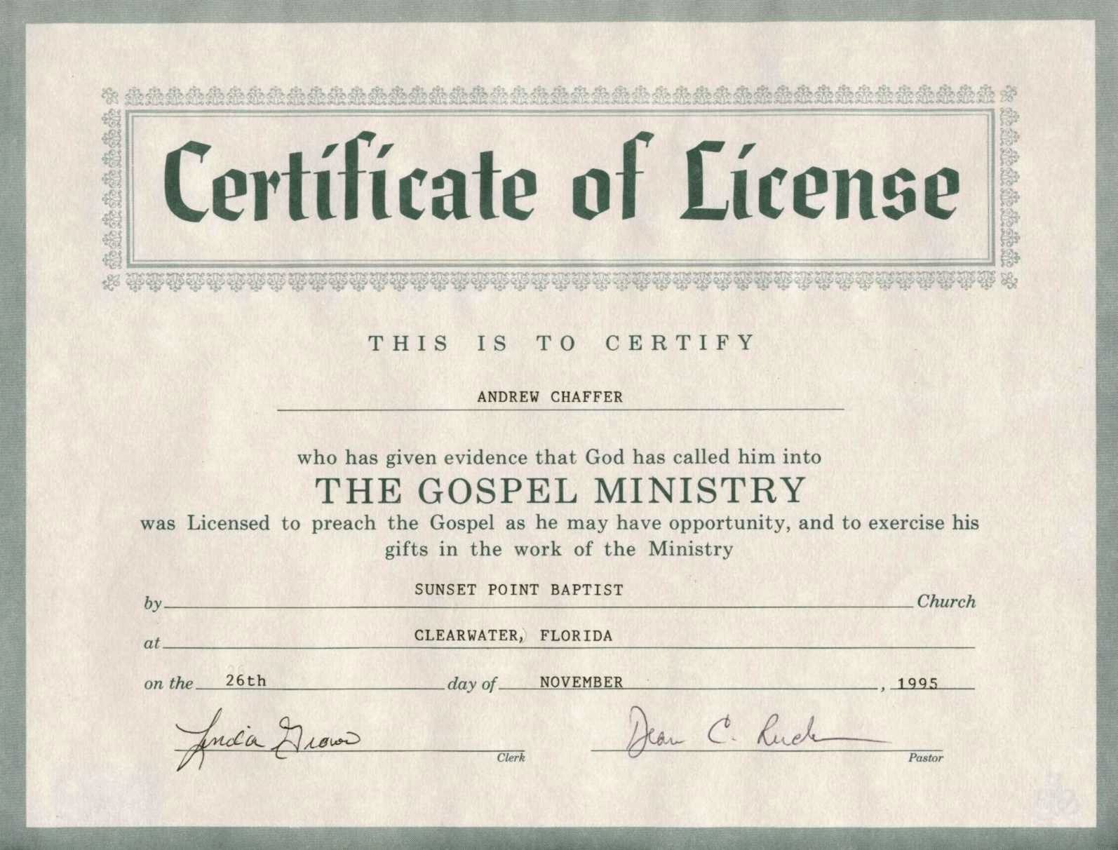 Ministerial License Certificate Template Lovely 8 Best S Of Printable Certificate License