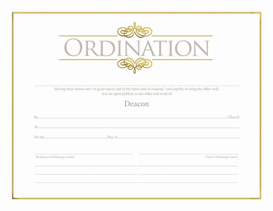 Ministerial License Certificate Template Luxury Deacon ordination Certificate ordination Christian