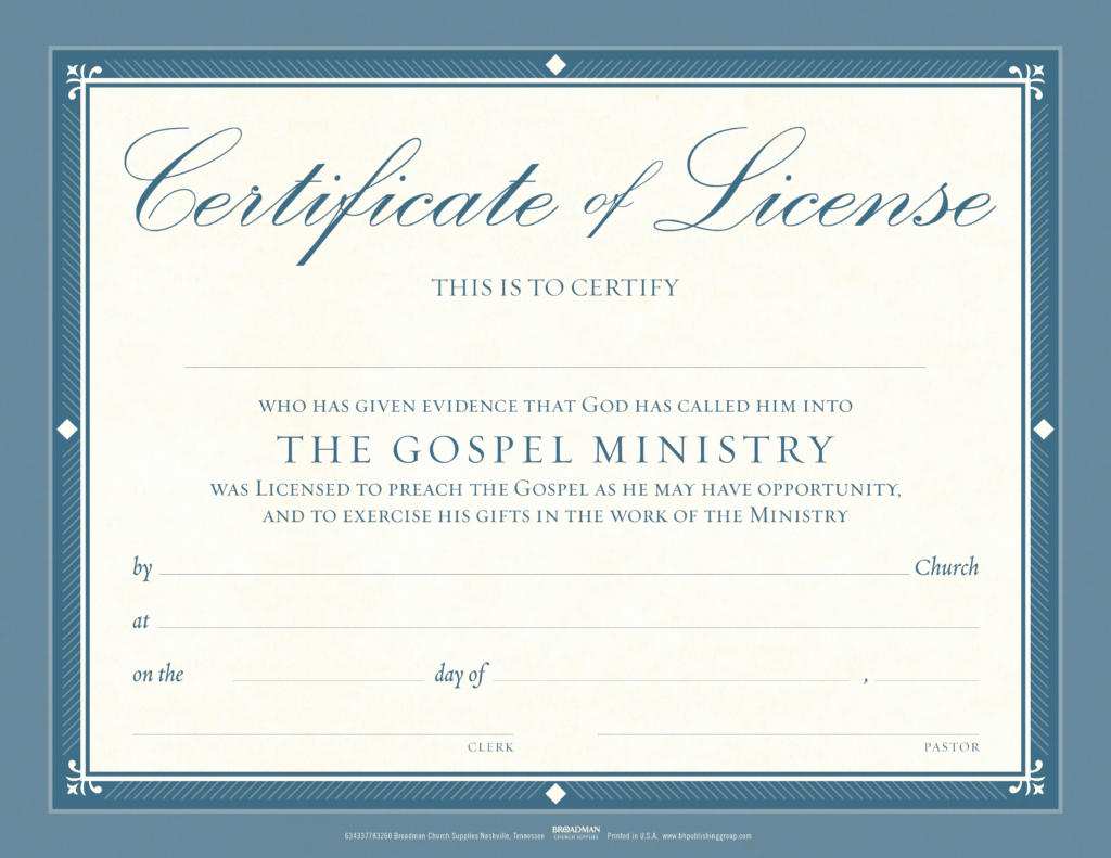 Ministerial License Certificate Template Luxury Minister License Flat Certificate Pkg 6 B&h Publishing
