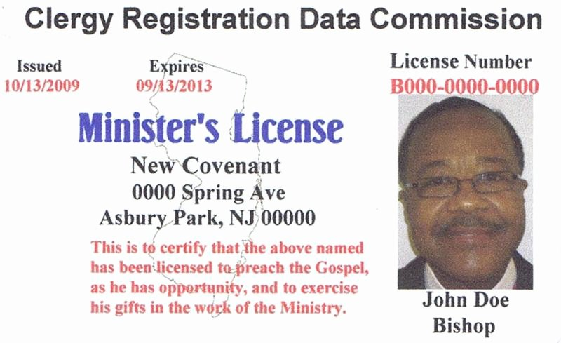 Ministerial License Certificate Template New ordained Minister License