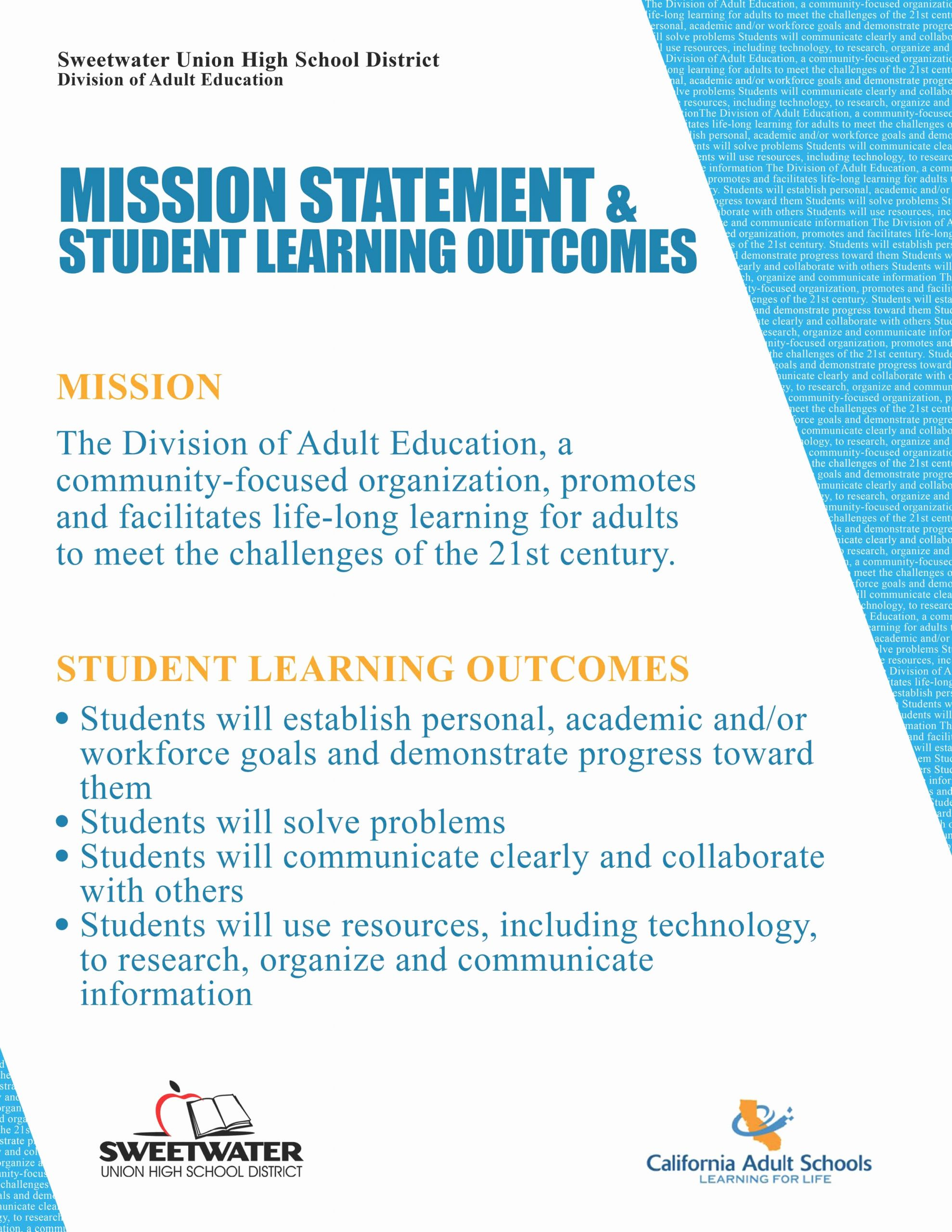 Mission Statement Examples for Students New Personal Mission Statement for High School Students