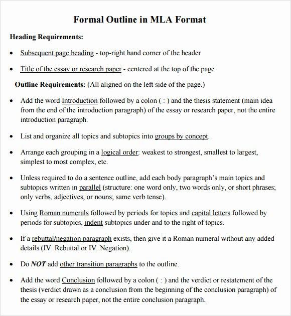 Mla format Outline Best Of Free 9 Sample Mla Outline Templates In Pdf