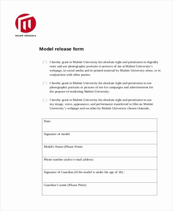 Model Release form Inspirational Free 11 Sample Model Release forms