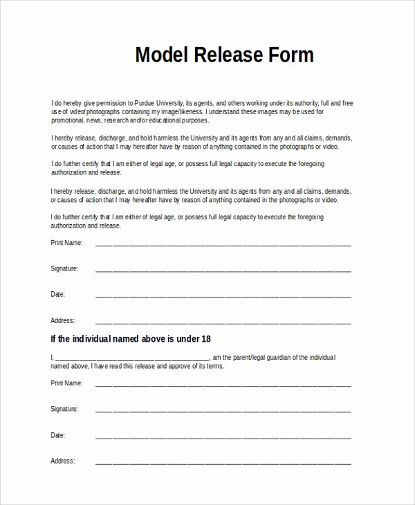 Model Release form Luxury Sample Model Release form 9 Examples In Pdf Word