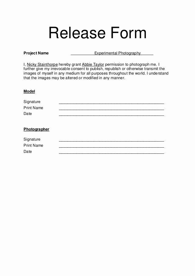 Model Release forms Inspirational Model Release form