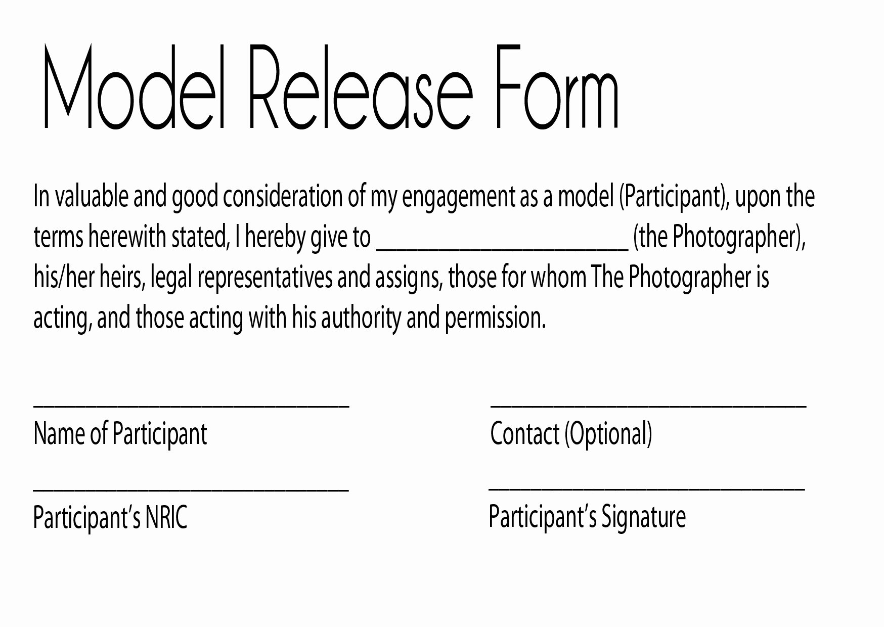 Model Release forms Luxury Task1