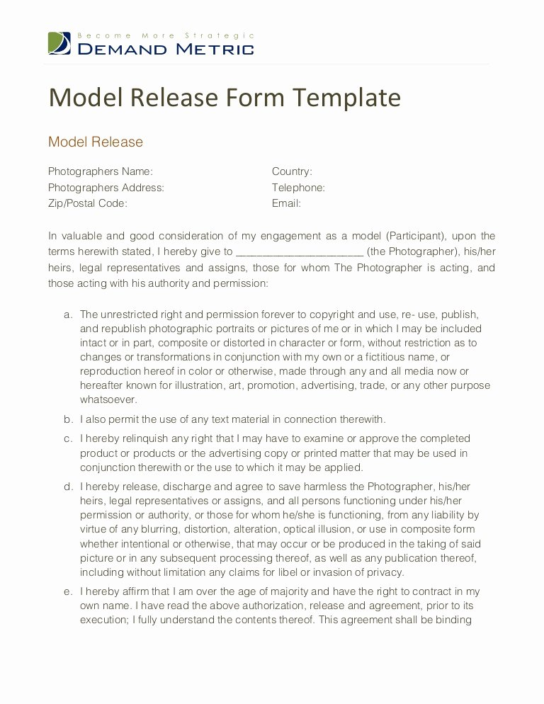 Model Release forms Unique Model Release form Template