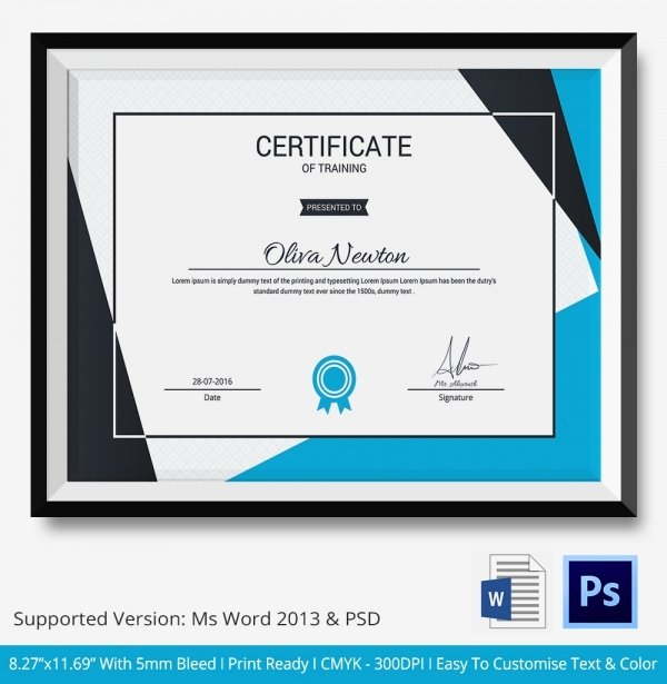 Modern Certificate Template Psd Beautiful Training Certificate Template 21 Free Word Pdf Psd