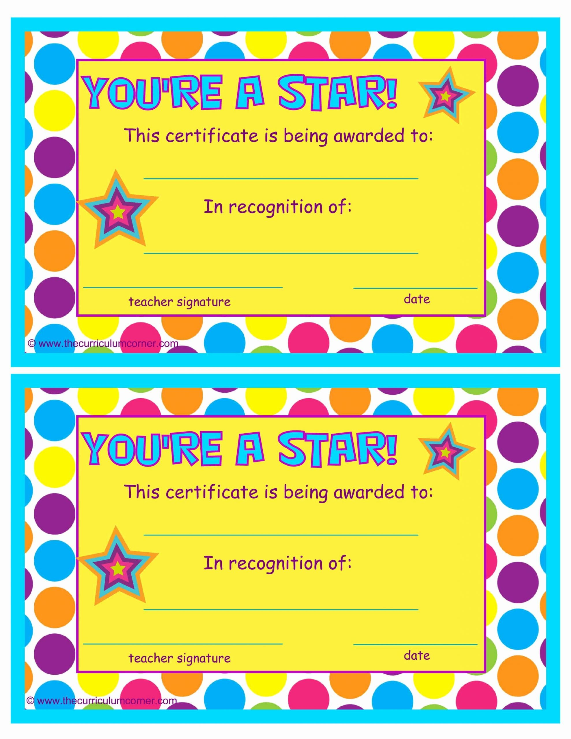 Most Improved Award Ideas Elegant You Re A Star End Of the Year Certificates the Kinder Corner