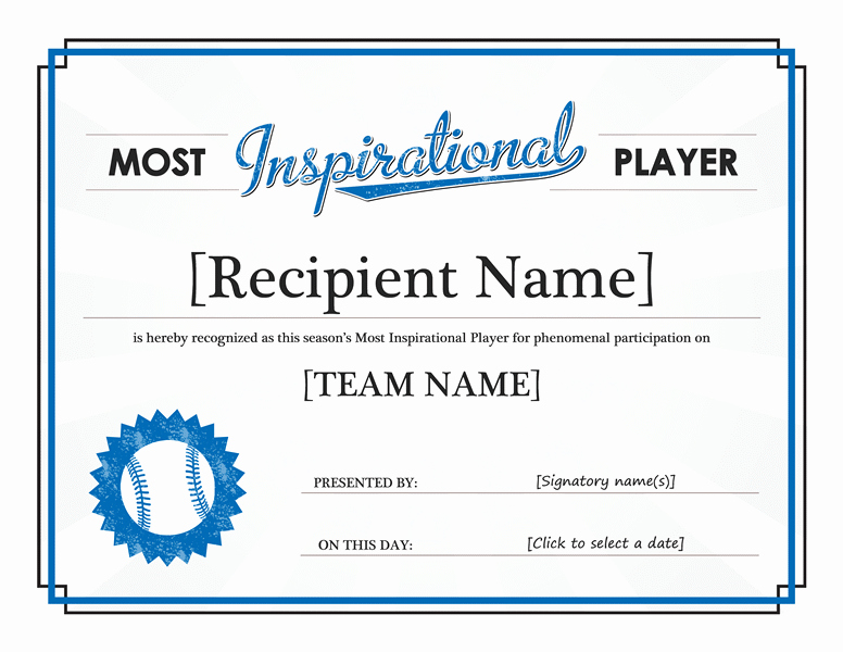 Most Improved Award Ideas Fresh Most Inspirational Player Award Certificate