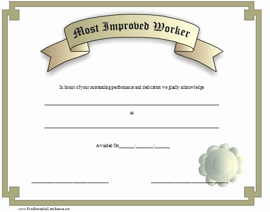 Most Improved Award Template Beautiful An Award Certificate for the Most Improved Worker with A