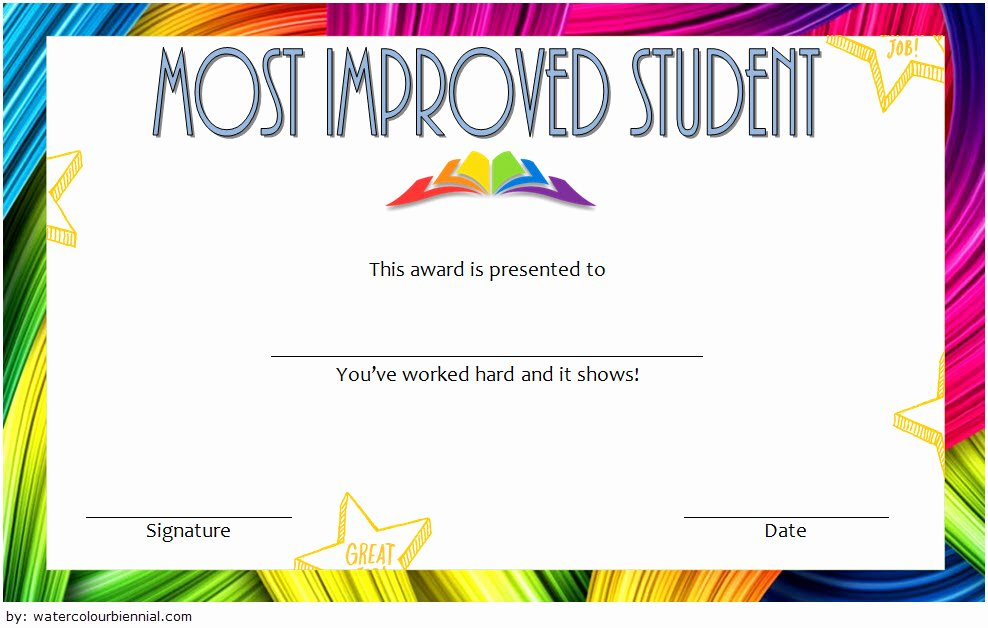 Most Improved Award Template Best Of Most Improved Student Certificate Printable 10 Best Ideas