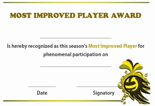 Most Improved Award Template Elegant 19 Best Images About Volleyball Certificates Free