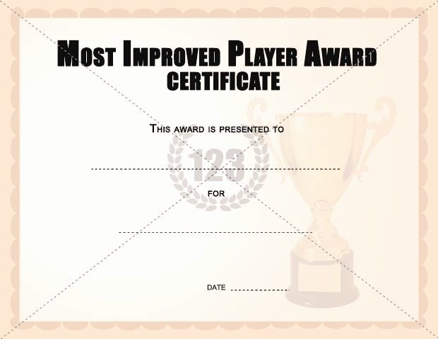 Most Improved Award Template Elegant Most Improved Player Award Certificates Templates
