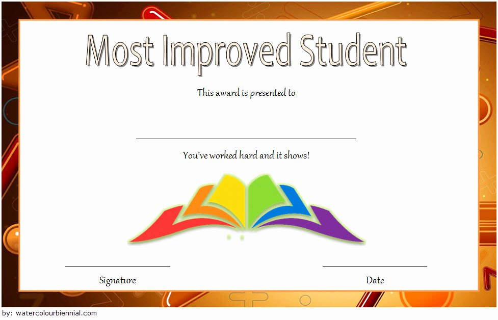 Most Improved Award Template Inspirational Most Improved Student Certificate Printable 10 Best Ideas