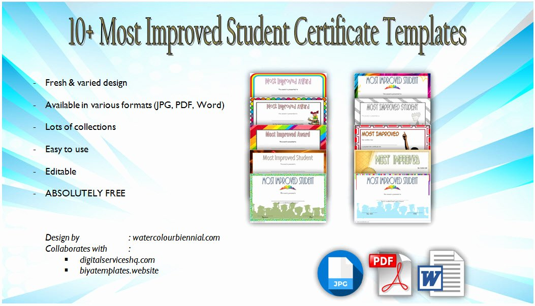 Most Improved Award Wording Awesome Most Improved Student Certificate 10 Template Designs Free