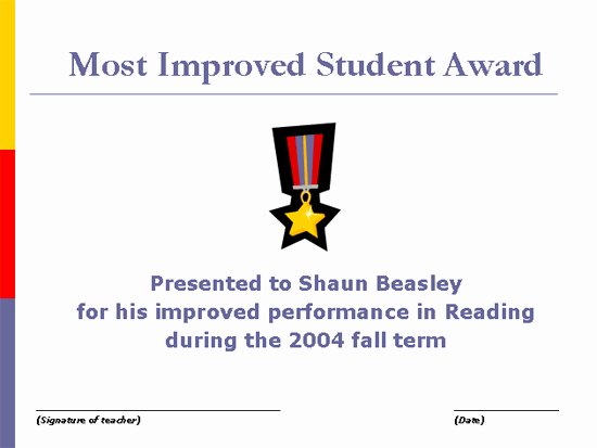 Most Improved Award Wording Inspirational Most Improved Student Award Free Certificate Templates