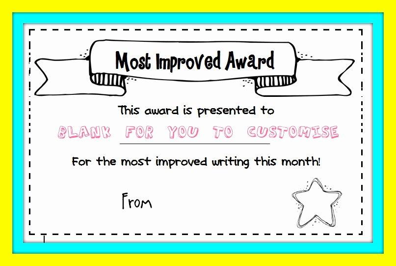 Most Improved Certificate Template Beautiful Best Handwriting Award Printable – Missmernagh