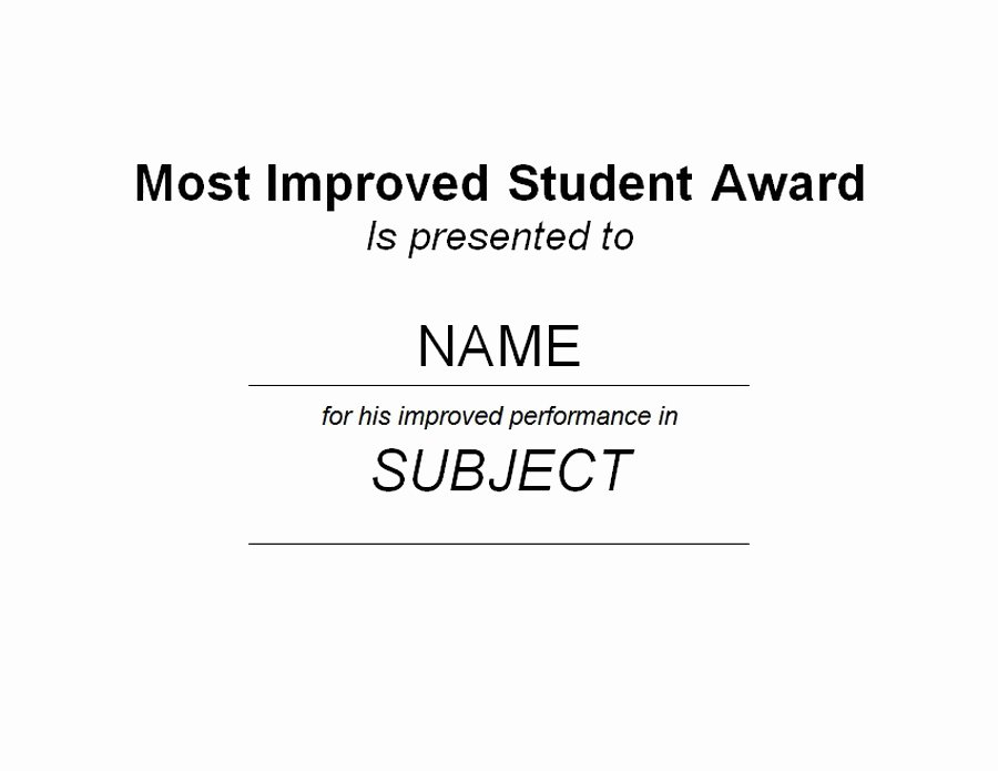 Most Improved Certificate Template Free Awesome Award Certificates Diploma Word Templates