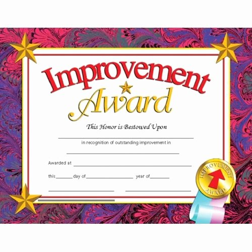 Most Improved Certificate Template Free Elegant Improvement Award Reward Your Students for their Special