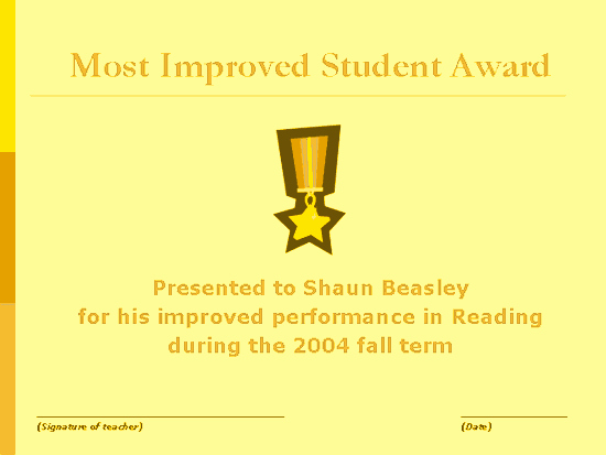 Most Improved Certificate Template Free Elegant Most Improved Student Award Free Certificate Templates