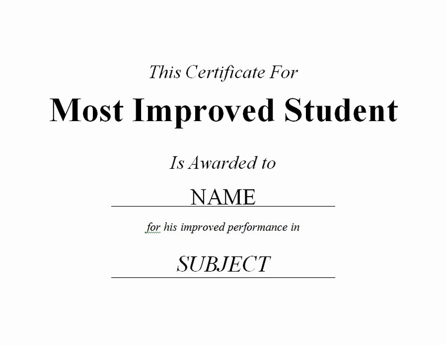 Most Improved Certificate Template Free Unique Most Improved Student Certificate 2