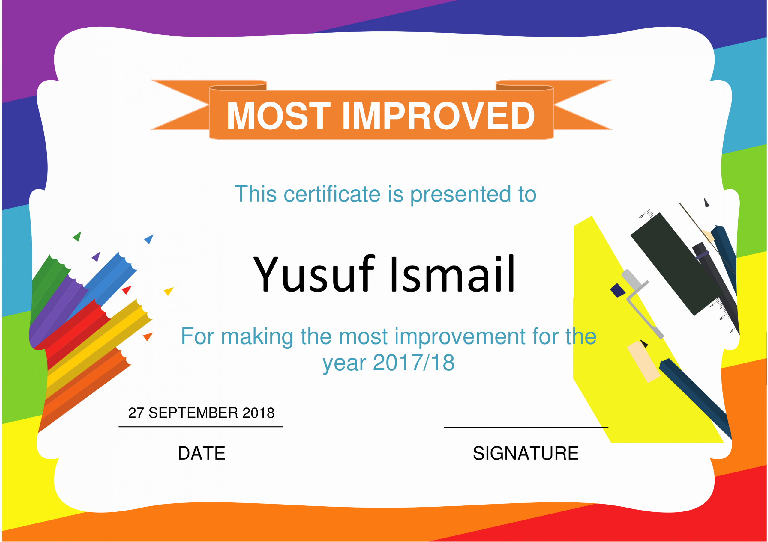 Most Improved Certificate Template Fresh Most Improved Certificate