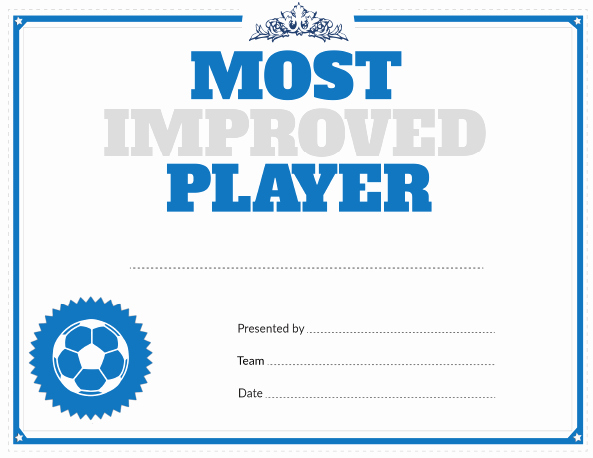 Most Improved Certificate Template Fresh Printable soccer Most Improved Player Award