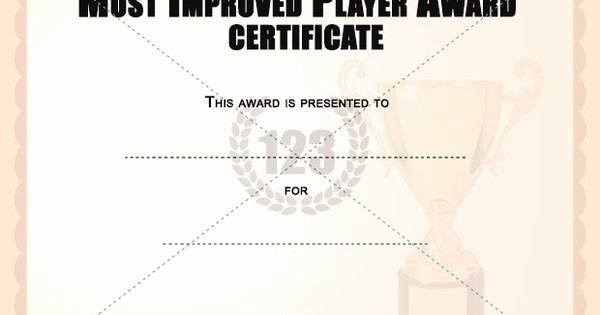 Most Improved Certificate Template Inspirational Most Improved Player Award Certificates Templates