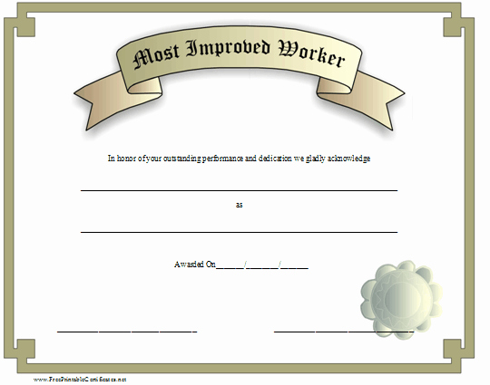 Most Improved Certificate Template Inspirational Most Improved Worker Certificate Printable Certificate