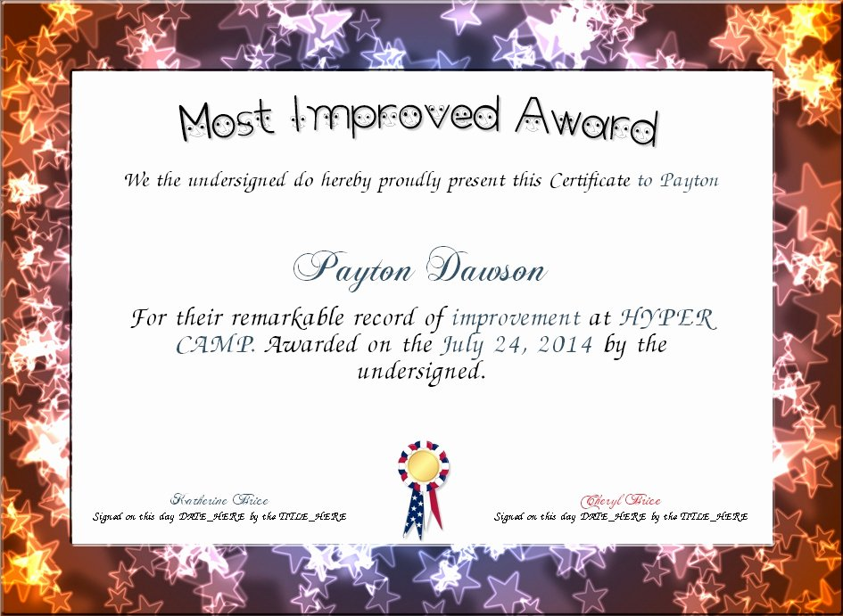 Most Improved Certificate Template Luxury Most Improved Certificate Basic Most Improved Award