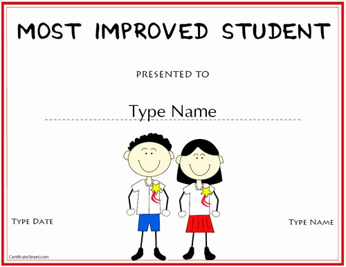 Most Improved Certificate Template New Education Certificates Most Improved Student Award