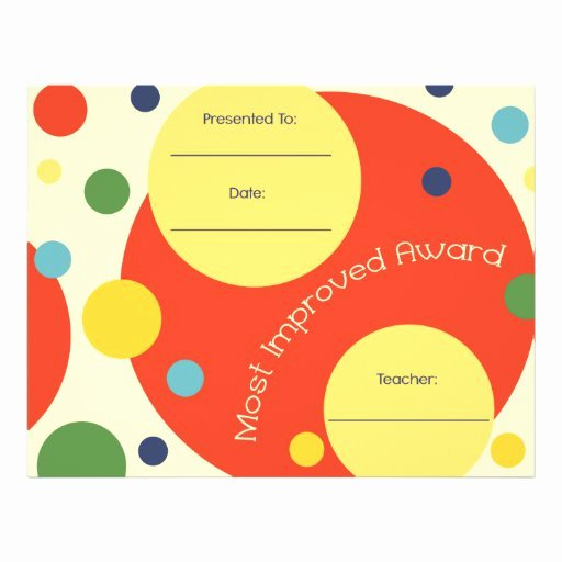 Most Improved Certificate Template Unique Most Improved Award Certificate Polka Dots Letterhead