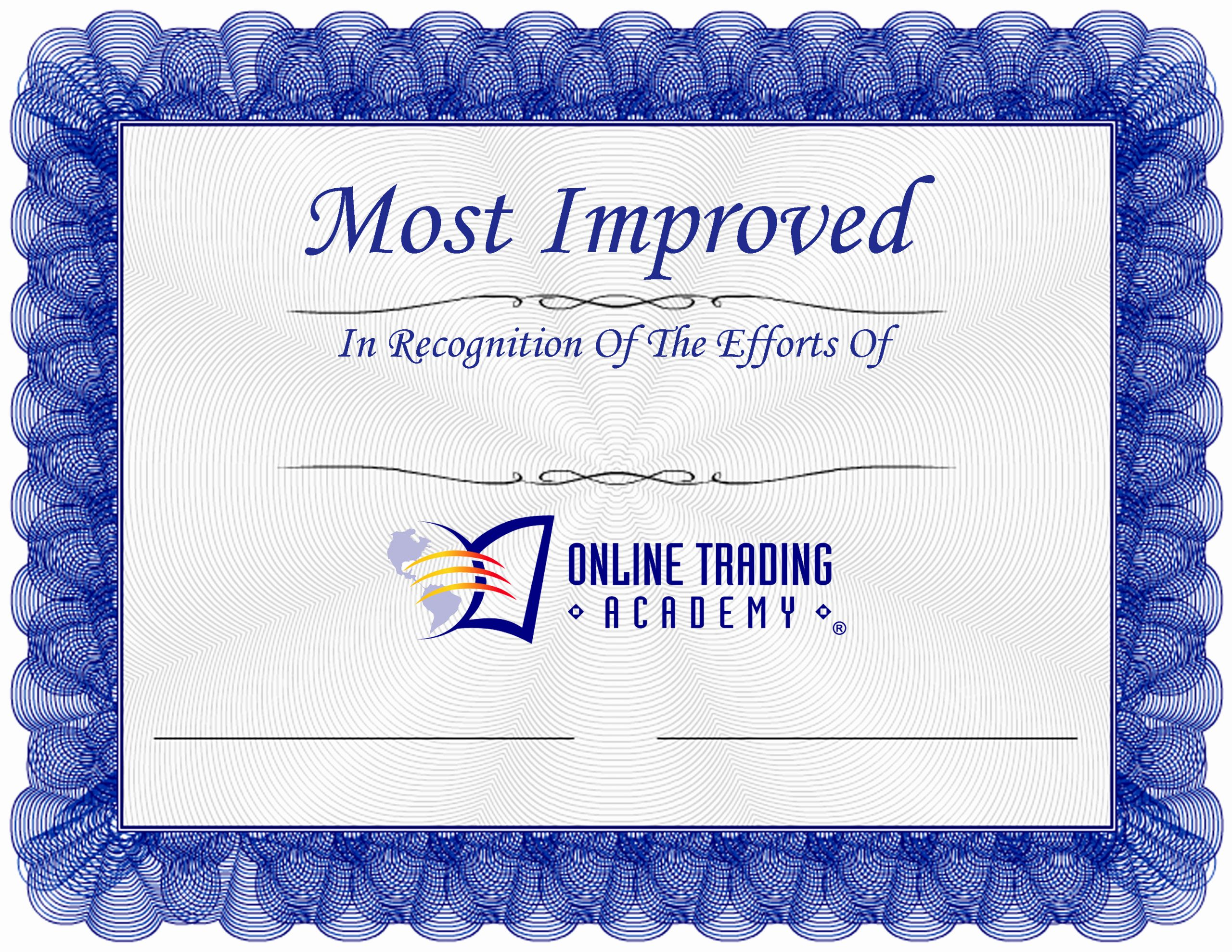 Most Improved Certificate Wording Awesome Line Trading Academy Most Improved Award