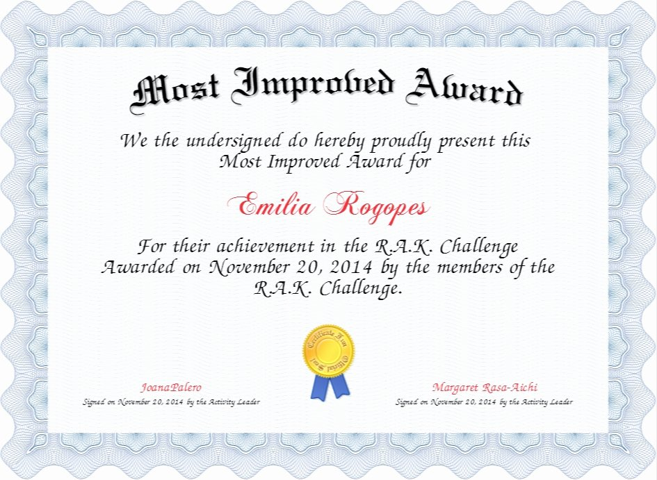 Most Improved Certificate Wording Awesome Most Improved Certificate Ideal Award Certificate Designs